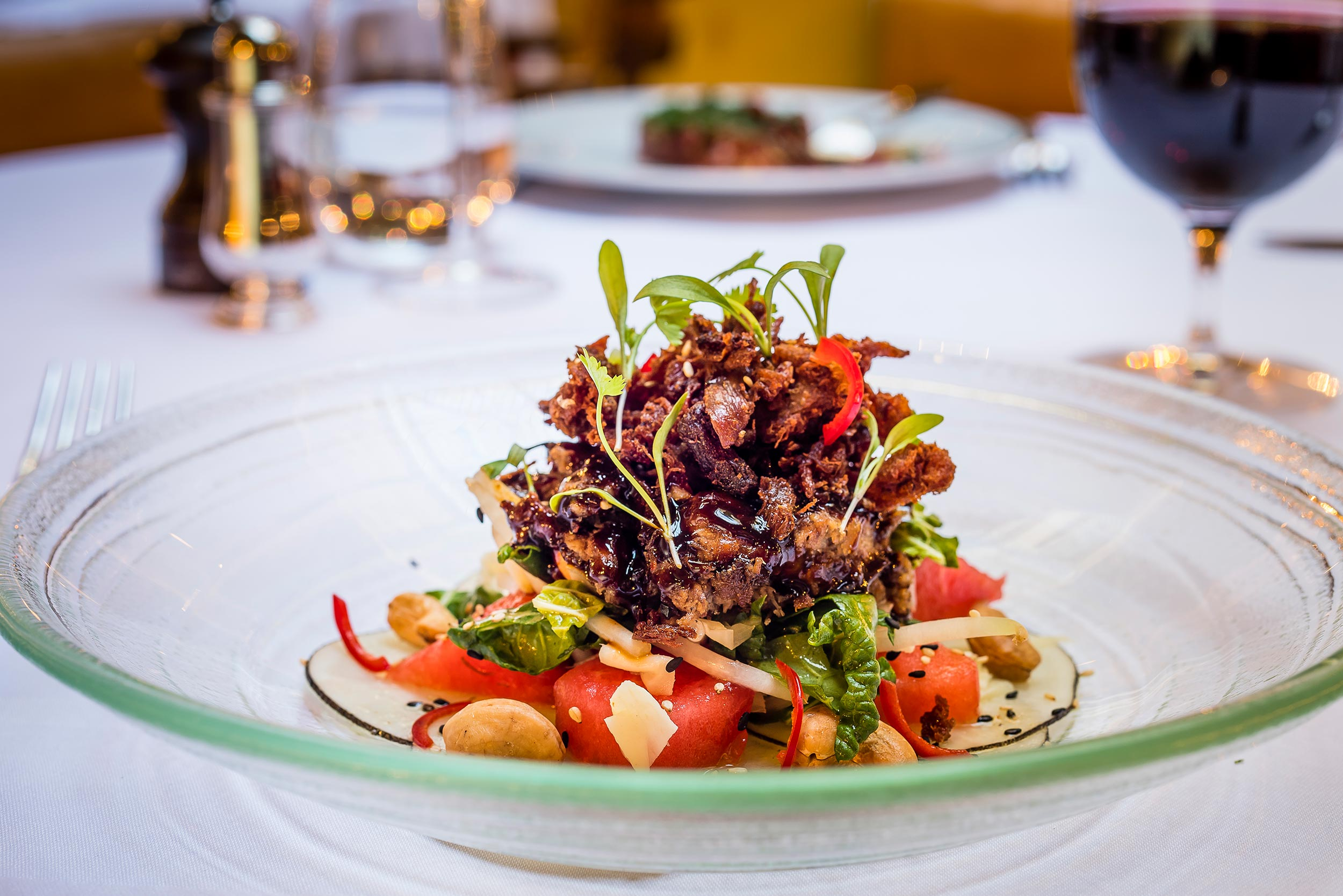 Crispy Duck Salad, Watermelon and Cashews at The Ivy City Garden - The Ivy City Garden