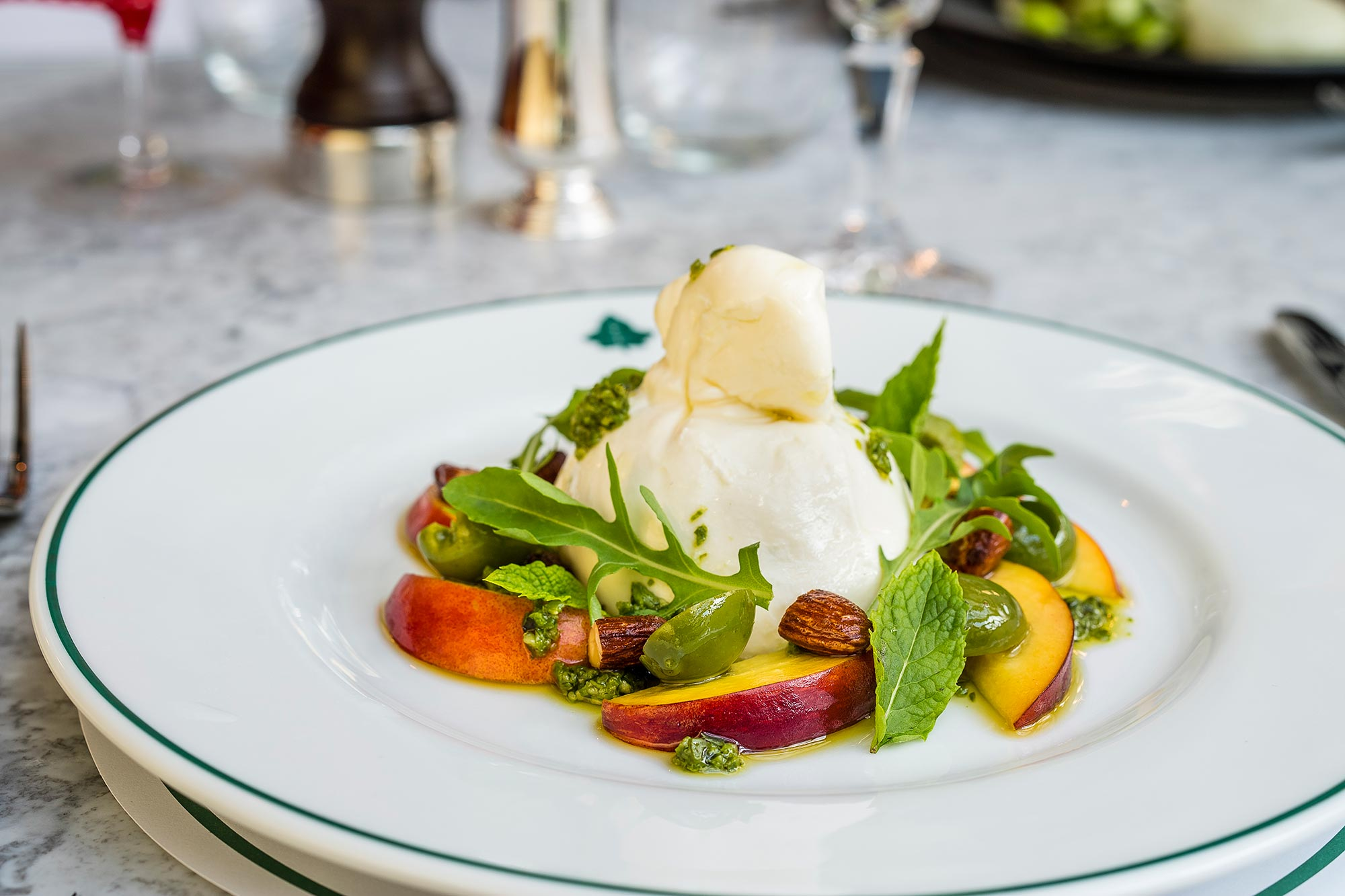 The Ivy Tower Bridge, London - Burrata with Nocellara olives, pesto, rocket and almonds - The Ivy Tower Bridge