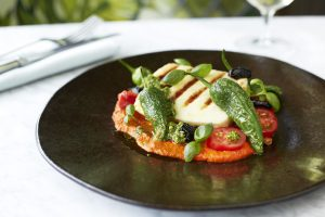 The Ivy on the Square Chargrilled halloumi and padron peppers