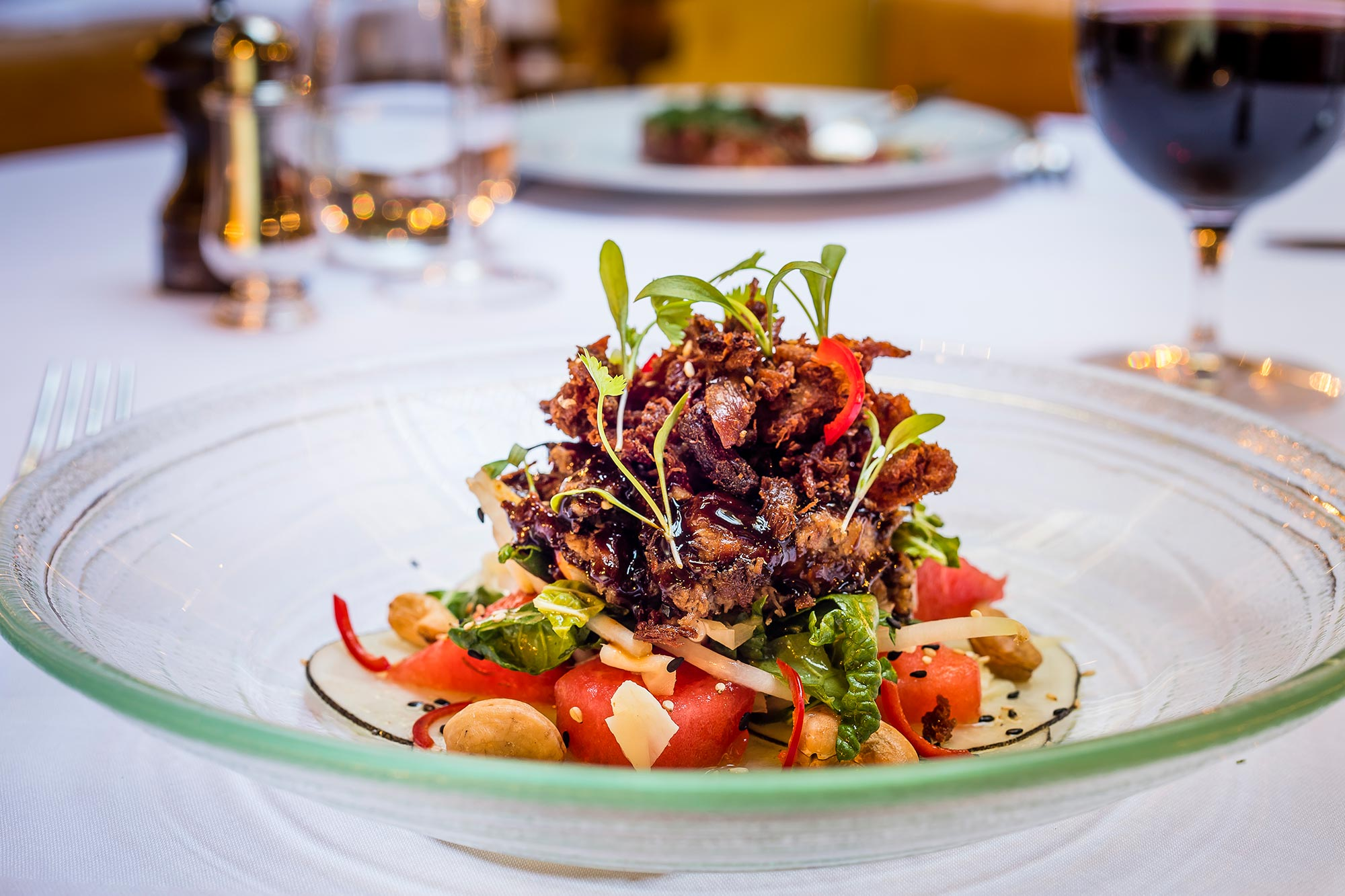 Restaurant in Bath for lunch, The Ivy Bath Brasserie - Crispy Duck Salad, Watermelon and Cashews - The Ivy Bath Brasserie