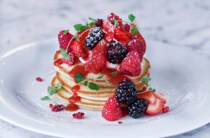 Breakfast pancakes at Granary Square Brasserie, King's Cross